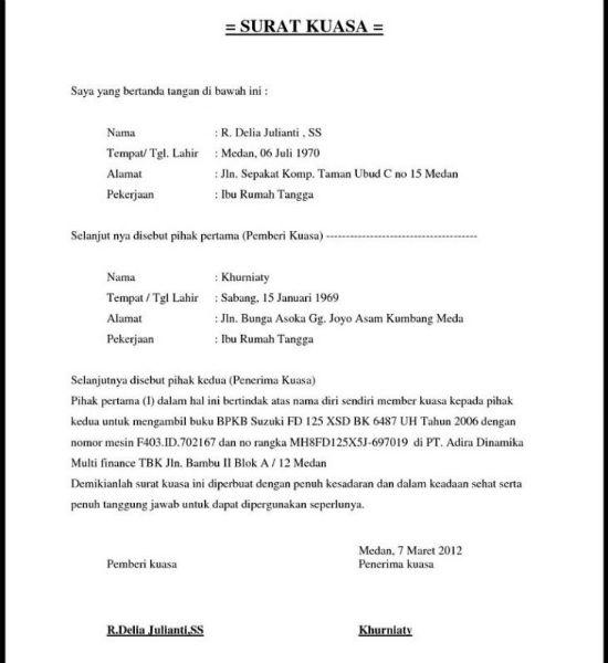 contoh surat kuasa ambil bpkb