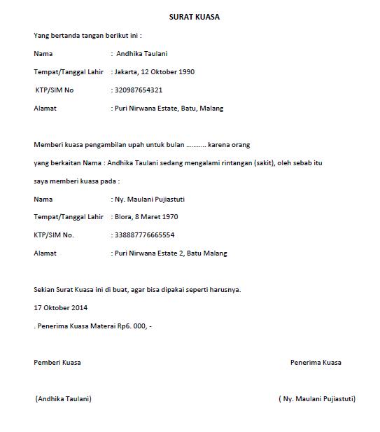 contoh surat kuasa ambil gaji